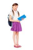 nätt avläsningsschoolgirl för bok Royaltyfri Fotografi