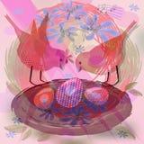 Nätt bakgrund med gulliga röda fåglar vid redet med ägg Arkivfoto