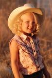 nätt barn för cowgirl royaltyfri fotografi