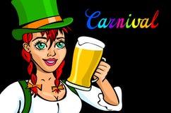 Nätt bayersk flicka med öl, isolerad Oktoberfest flicka Arkivbilder