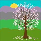 Nätt blommande träd yellow f?r fj?der f?r ?ng f?r bakgrundsmaskrosor full solig dag ocks? vektor f?r coreldrawillustration royaltyfri illustrationer