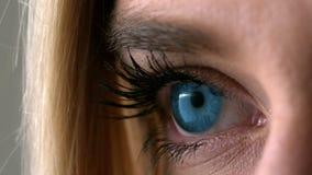 Nätt blond öppning hennes ögonslut upp arkivfilmer