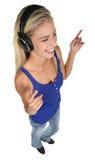 Nätt blond dam Music Listener Arkivfoton