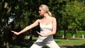 Nätt blond görande tai-chi i parkera stock video