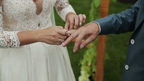 Nätt brudklädercirkel på fingret för brudgum` s lager videofilmer