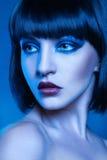 Nätt brunett i kalla signaler Fotografering för Bildbyråer
