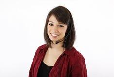 Nätt brunettkundtjänsttekniker Royaltyfri Fotografi