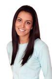 Nätt brunettkvinna med långt hår Royaltyfri Fotografi