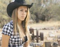 Nätt cowgirlmodell Fotografering för Bildbyråer