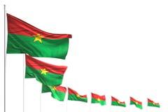 Nätt dag av illustrationen för flagga 3d - Burkina Faso isolerade flaggor förlade diagonalt, bild med den selektiva fokusen och s stock illustrationer