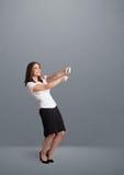 Nätt dam som gör en gest med kopieringsutrymme Royaltyfri Foto