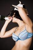 nätt dricka flicka för champagne Royaltyfria Foton