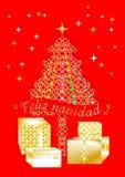 Nätt färgrikt julhälsningkort som är skriftligt i flera språk SPANISH1 A Arkivbilder