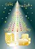Nätt färgrikt julhälsningkort som är skriftligt i graden SPANISH1 A för flera språk Royaltyfri Fotografi