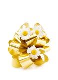 nätt för festliga blommor för bow guld- Royaltyfri Fotografi