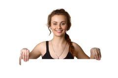 Nätt för innehavmellanrum för ung kvinna baner Arkivfoto