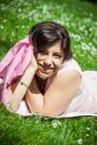nätt fjäder för flicka Royaltyfri Fotografi