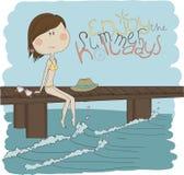 Nätt flicka för illustration på stranden Arkivbilder