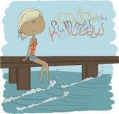 Nätt flicka för illustration på stranden. Illustratio Arkivfoton