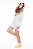 Nätt flicka i en vit tröja Arkivbilder