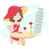 Nätt flicka i Italien vektor illustrationer