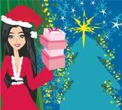 Nätt flicka i juldräkt stock illustrationer