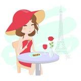 Nätt flicka i Paris royaltyfri illustrationer