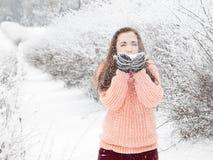 Nätt flicka i tröja som blåser för att snöa Arkivfoton