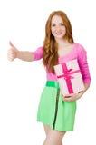 Nätt flicka i vivdklänningen som isoleras på vit Arkivbild
