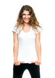 Nätt flicka med den tomma t-skjortan royaltyfri bild