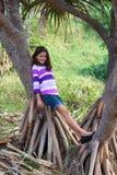 Nätt flicka på träd Arkivfoto