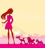 Nätt flicka som går hundkapplöpningen royaltyfri illustrationer