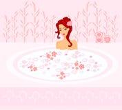 Nätt flicka som tycker om den eleganta brunnsorten royaltyfri illustrationer