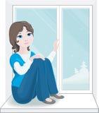 Nätt flicka vid det nya fönstret Royaltyfria Bilder