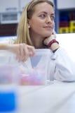Nätt forskare i ett laboratorium Arkivfoto