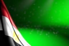 Nätt foto av den Egypten flaggan som hänger i hörn på gräsplan med bokeh och tomt utrymme för din text - någon illustration för f royaltyfri illustrationer