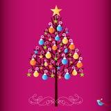 Nätt hand dekorerat träd vektor illustrationer