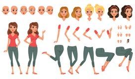 Nätt konstruktör för ung kvinna i plan stil Delar av kroppen lägger benen på ryggen och armar, framsidasinnesrörelser, frisyrer o royaltyfri illustrationer