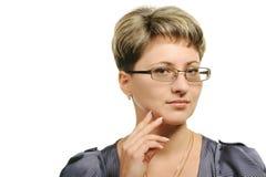 nätt kvinna för exponeringsglas Arkivbilder