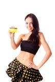 nätt kvinna för kortkreditering royaltyfria foton