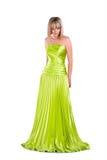 Nätt kvinna i den gröna kappan som isoleras på white Royaltyfri Bild
