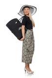 Nätt kvinna i den långa kjolen som isoleras på viten arkivfoton