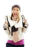 Nätt kvinna med aktivitet för skridskoåkningvintersport royaltyfri foto