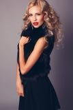 Nätt kvinna med blont hår i elegant svart klänning och päls Arkivbild