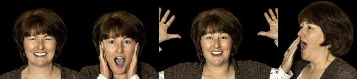 Nätt kvinna med olika ansikts- sinnesrörelser royaltyfri bild
