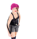 nätt kvinna som bär den rosa hatten  Royaltyfri Bild