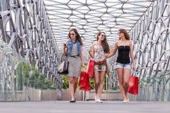 Nätt kvinna som 3 går på bron som tycker om shoppingen arkivfoton