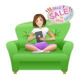 Nätt kvinna som surfar i internet med hennes minnestavla och gör att shoppa direktanslutet royaltyfri illustrationer