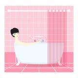 Nätt kvinna som tar ett bad vektor Arkivbilder
