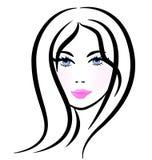 Nätt kvinna stiliserad kontur Arkivbild